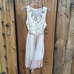 Areve Cream/Taupe Dress w/petals and sequins Sz L